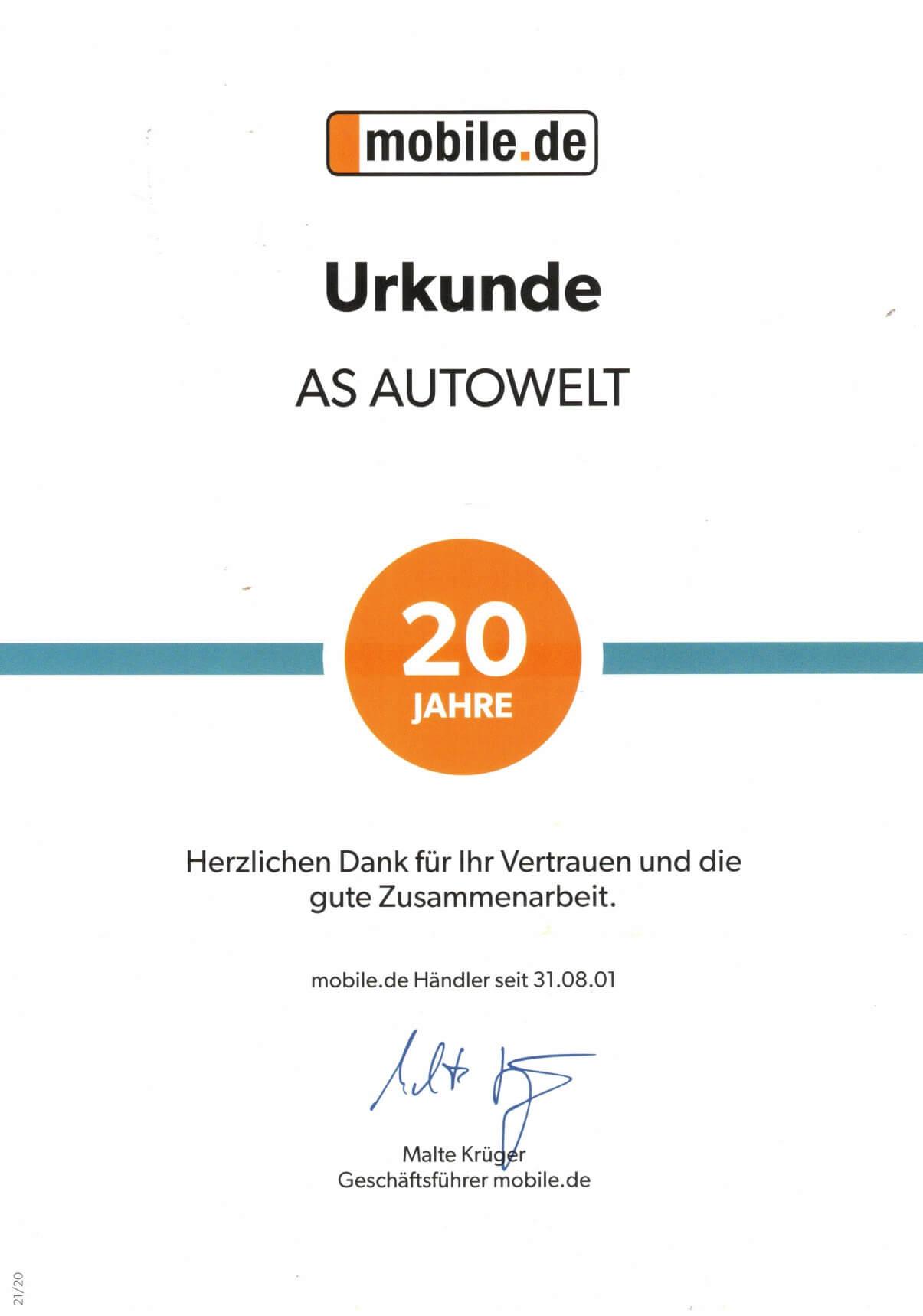 Zertifikat Mobile.de AS Autowelt